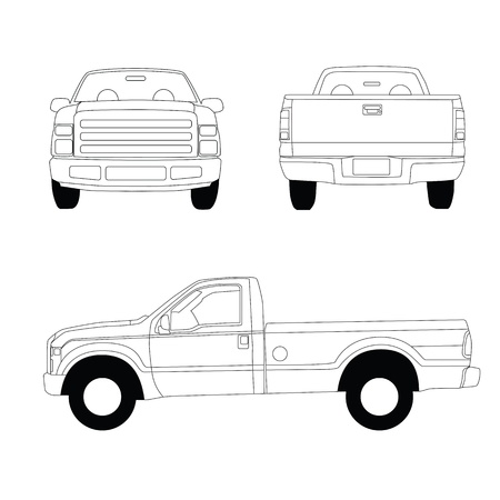 Pick-up truck line illustration, front, side and rear view Stock Photo