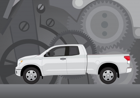 transference: Pick-up truck with background of cogwheels