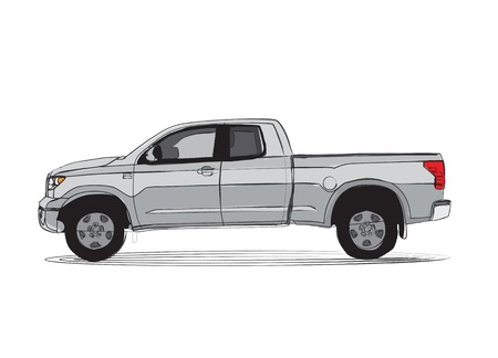 transference: Pick-up truck isolated on white background