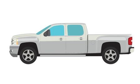 픽업 트럭 간단한 그림 흰색 배경에 고립입니다. 스톡 콘텐츠