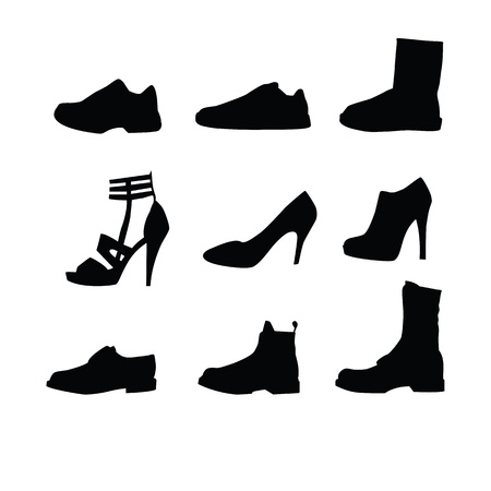 Men and women shoes silhouettes isolated on white background.