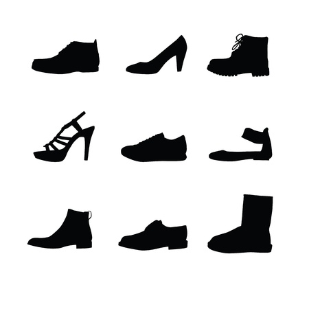 the latest models: Black shoes silhouettes on white background