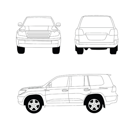 Sport utility vehicle car vector line illustration on white