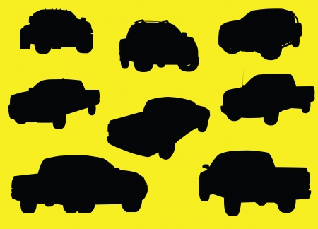transference: Pick-up trucks silhouettes isolated on yellow background  Stock Photo
