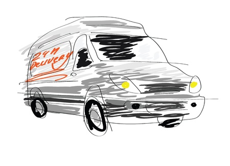 Delivery van sketch isolated on white  photo