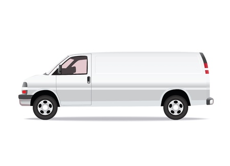 transference: Delivery van side view illustration isolated on white