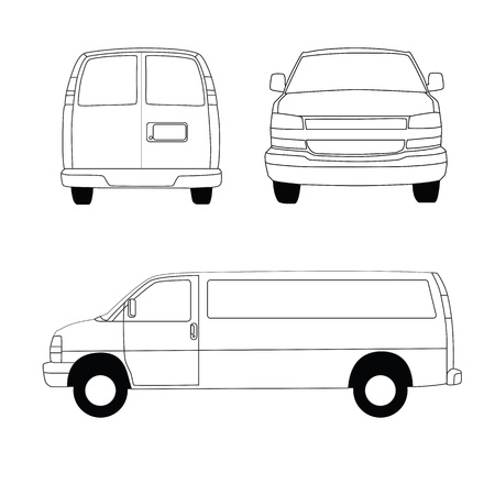 transference: Delivery van line illustration Stock Photo