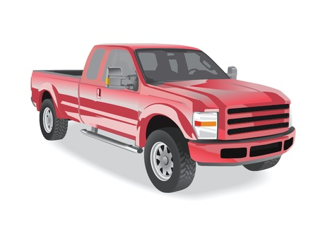 pickup truck: Pick-up de color rojo sobre fondo blanco