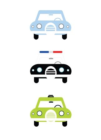 police station: City cars front view illustration isolated on white background  Civil car, police and taxi cab  Cartoon style simple colorful vector illustration  Stock Photo