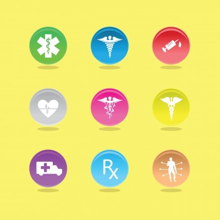 Medical icons in color circles on white background Stock Vector - 14580539