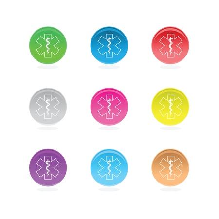 ems: S�mbolos m�dicos estrellas en c�rculos de color aislado en blanco