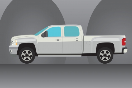 lift and carry: Pick-up truck vector illustration with grey arches background