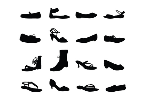 Women casual shoes silhouettes Stock Vector - 14580517