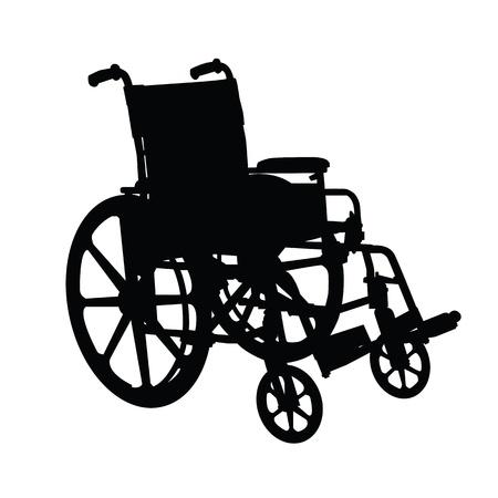 ems: Silla de ruedas silueta de color negro sobre fondo blanco