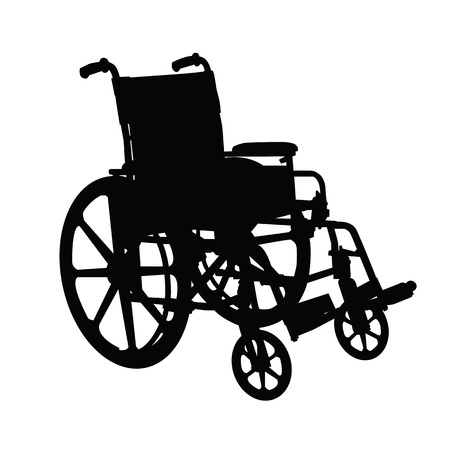 transference: Wheelchair silhouette black on white background