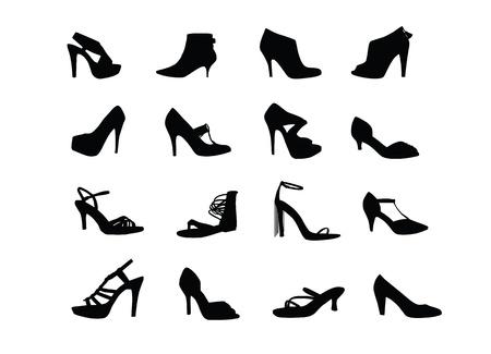 Women heel shoes silhouettes Vettoriali