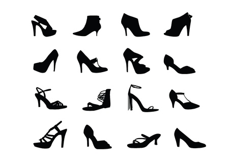 Women heel shoes silhouettes Vectores
