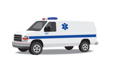 lift and carry: Ambulance van isolated on white. Vector illustration.