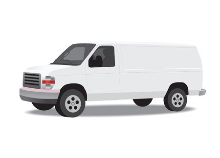 lift and carry: Delivery van isolated on white.  illustration.