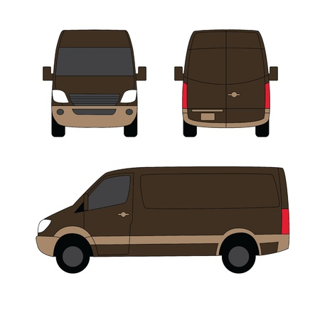 Delivery van brown three sides vector illustration Vector