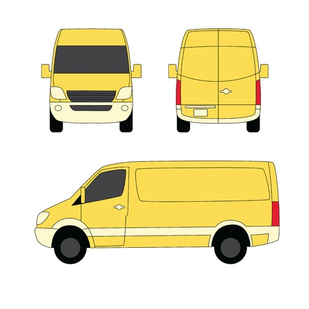 Delivery van yellow three sides  illustration Vector