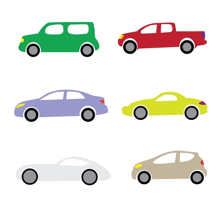 transference: Colorful various cartoon cars isolated on white background.
