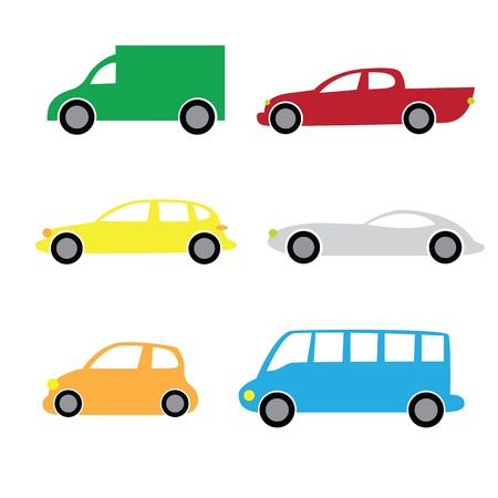 transference: Colorful various cartoon cars isolated on white background. Part 2. Illustration