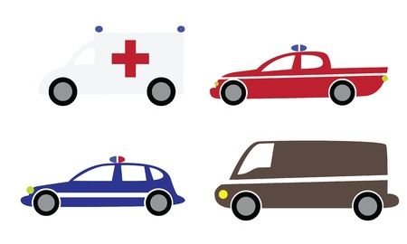 transference: Colorful various cartoon cars isolated on white background. Part 3 - police, ambulance, firefughters.