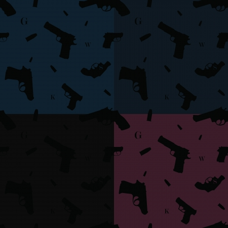 Seamless pattern with variety of hand guns, bullets and some alphabet letters Stock Vector - 14671776