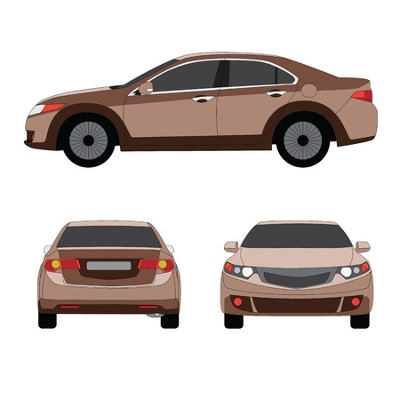 color separation: Large sport sedan three side view  illustration