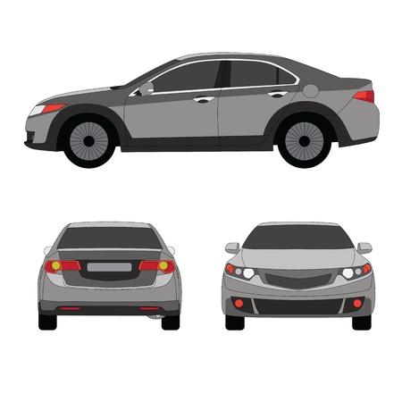 Large sport sedan three side view vector illustration