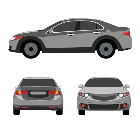 Large sport sedan three side view vector illustration