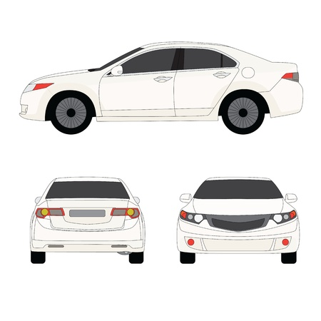sedan: Large sport sedan three side view  illustration