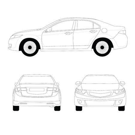 Large sport sedan line art  illustration Ilustração