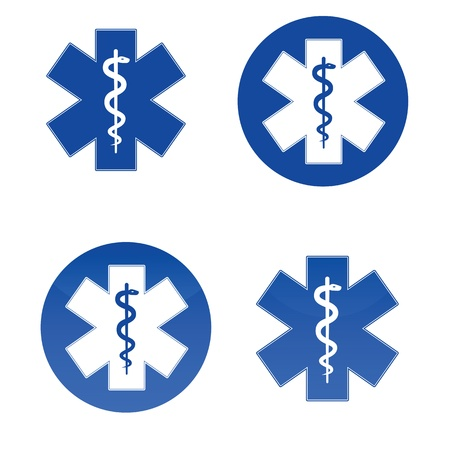 asclepius: Variopus medical star symbols isolated on white background.