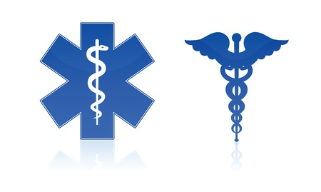 Medical symbols - star and caduceus, isolated on white background. Vettoriali