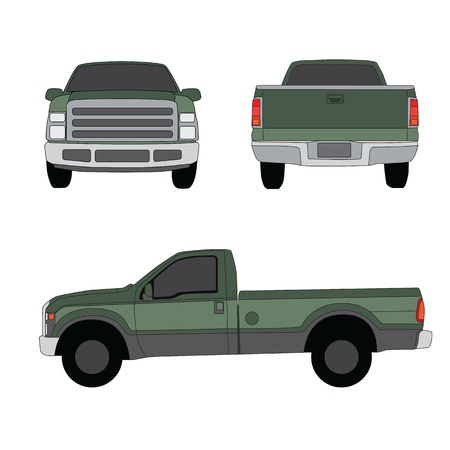the sides: Pick-up truck green three sides view vector illustration