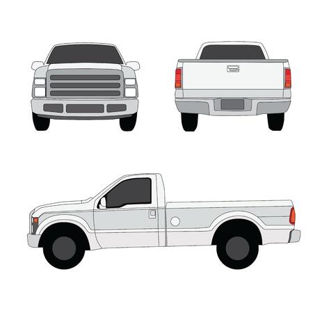 ピックアップ トラックの 3 つの側面を見るベクトル イラスト  イラスト・ベクター素材