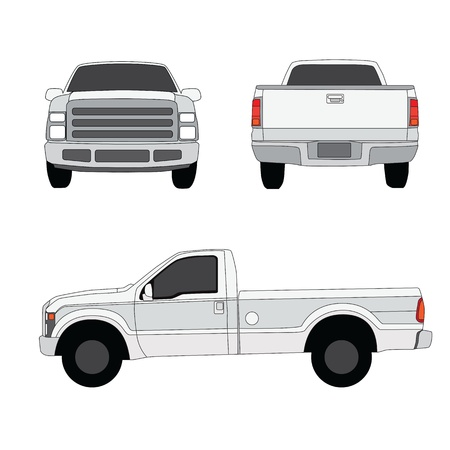 Pick-up truck three sides view vector illustration 일러스트