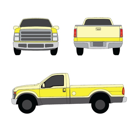 transference: Pick-up truck yellow three sides view  illustration