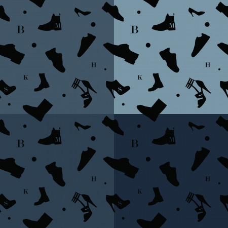 Shoes seamless pattern colors. Easy change colors in separate layers. Vector