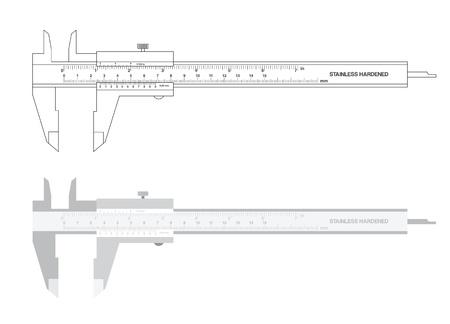 caliper: Vernier caliper tool isolated on white. illustration.