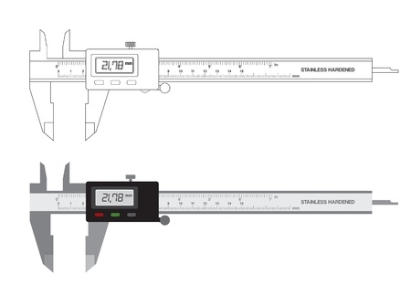Vernier caliper digital tool isolated on white. illustration. Illustration