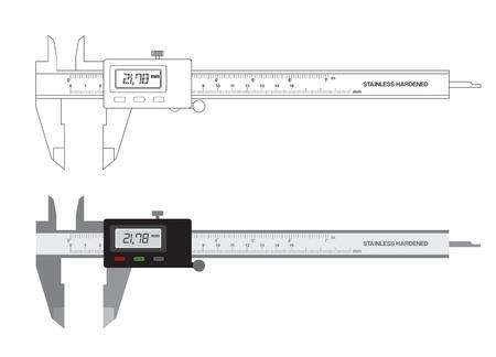 caliper: Vernier caliper digital tool isolated on white. illustration. Illustration