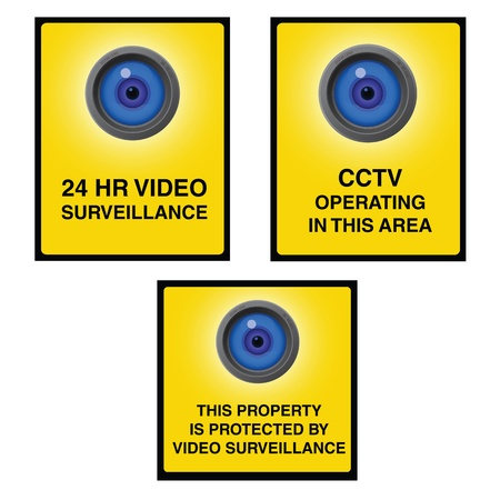 lookout: Video surveillance camera sign with yellow background and blue lens. Property is protected by video surveillance.