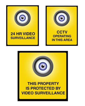 24 hr: Video surveillance camera sign with yellow background and eye lens. 24 HR video surveillance. Illustration