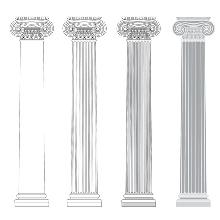 volute: Ionic column in different styles. An outline, a fill color outline and basic shades drawing. Illustration