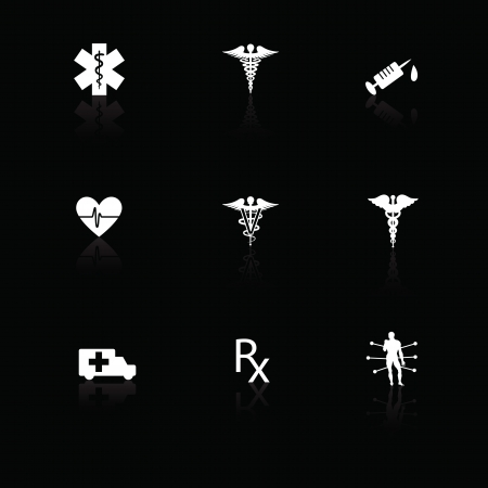 Medical icons white on black with reflections. Illustration