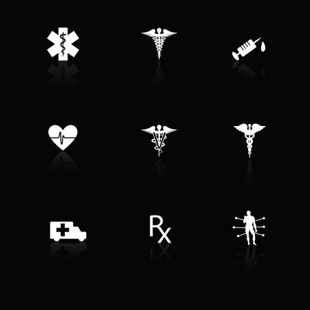 Medische pictogrammen wit op zwart met reflecties. Stockfoto - 14841993