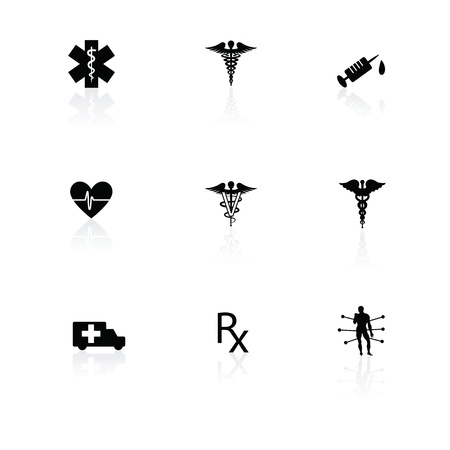 veterinarians: Medical icons black on white with reflections.